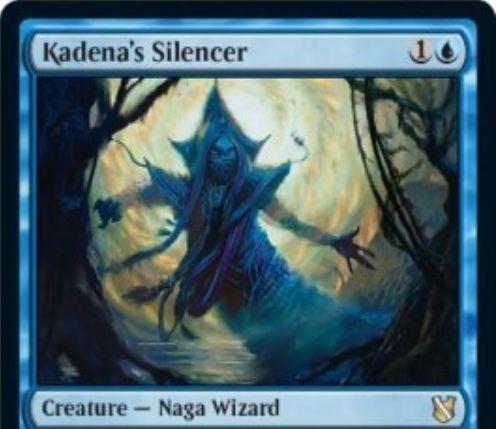 【統率者2019】青のナーガ・ウィザード「Kadena's Silencer」が公開!2マナ2/1&青1で大変異&表向きになったら対戦相手のすべての能力を打ち消す!