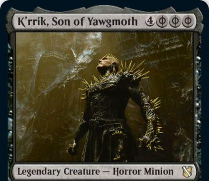【統率者2019】黒の伝説ホラー・ミニオン「K'rrik, Son of Yawgmoth」が公開!どんな黒マナでもライフ2点で支払えるようにする!ヨーグモスの息子!?