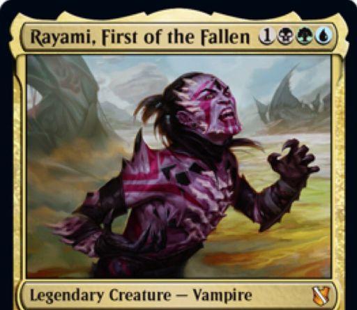 【統率者2019】黒緑青の伝説神話吸血鬼「Rayami, First of the Fallen」が公開!4マナ5/4&非トークン生物の死亡時に血液カウンターが置かれた状態で追放し、それのキーワード能力を得る!