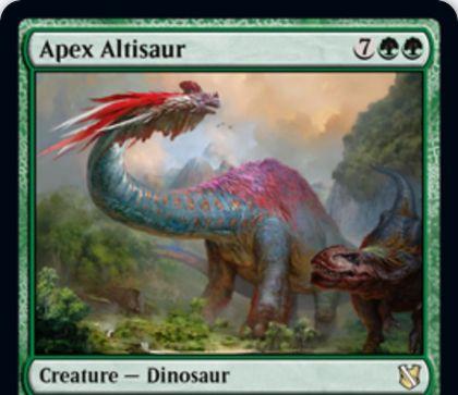 【統率者2019】緑レアの恐竜「Apex Altisaur」が公開!9マナ10/10&ETBで生物1体と格闘&激昂で生物1体と格闘!