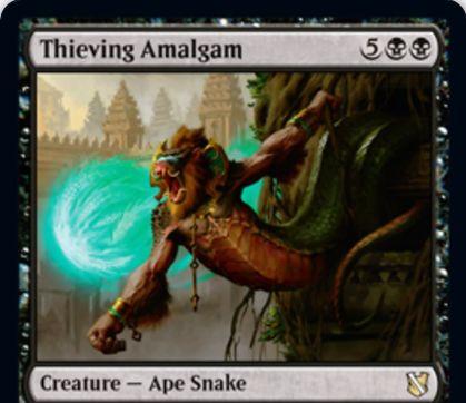 【統率者2019】黒レアの類人猿蛇「Thieving Amalgam」が公開!7マナ6/7&各対戦相手のアップキープにそのプレイヤーのデッキトップを予示&あなたがコントロールするオーナーでない生物の死亡時に2点ドレイン!
