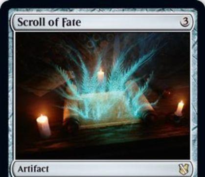 【統率者2019】レアのアーティファクト「Scroll of Fate」が公開!3マナで設置し、タップで手札のカードを予示できる!
