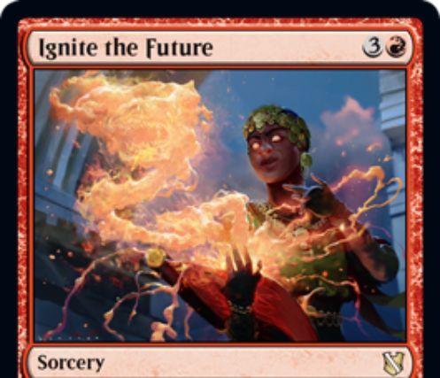 【統率者2019】赤レアのソーサリー「Ignite the Future」が公開!赤2でデッキトップ3枚を追放し、次ターン終了時まで唱えられる状態に!墓地から唱えたならそれらを無料プレイ可能に!赤7でフラッシュバックも可能!