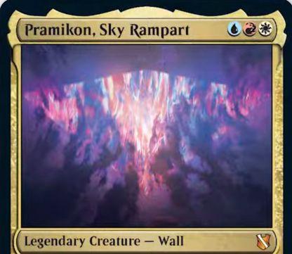 【統率者2019】青赤白の伝説神話壁「Pramikon, Sky Rampart」が公開!3マナ1/5飛行・防衛&ETBで左右を選び、選ばれた方向のプレイヤー&プレインズウォーカーへの攻撃を強制!