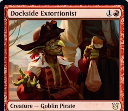 【統率者2019】赤レアのゴブリン海賊「Dockside Extortionist」が公開!2マナ1/2&ETBで対戦相手のアーティファクト&エンチャントの合計数だけ宝物トークンを生成!