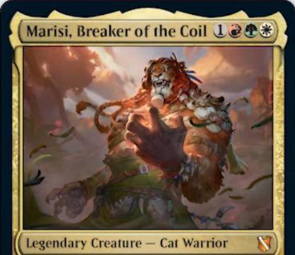 【統率者2019】ナヤ色の伝説猫戦士「Marisi, Breaker of the Coil」が公開!4マナ5/4&相手の戦闘中の呪文を封じる&あなたのクリーチャーがプレイヤーにダメージを通すと、そのプレイヤーの全クリーチャーを使嗾する!