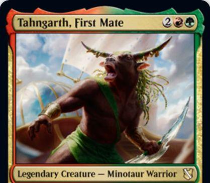 【統率者2019】赤緑の新ターンガース「Tahngarth, First Mate」が公開!4マナ5/5&2体以上でブロックされない&相手に一時的にコントロールを移して攻撃に加勢させられる伝説のミノタウルス戦士!