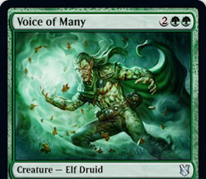 【統率者2019】数多の声(Voice of Many)が公開!緑緑2で3/3&ETBであなたよりも生物の数が少ない対戦相手の数だけドローするエルフ・ドルイド!