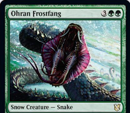 【統率者2019】緑レアの氷雪蛇「Ohran Frostfang」が公開!5マナ2/6&自軍の攻撃クリーチャーに接死付与&自軍クリーチャーがプレイヤーにダメージを通すたびにドロー!