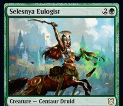 【統率者2019】緑レアのケンタウルス・ドルイド「Selesnya Eulogist」が公開!3マナ3/3&緑2で墓地のクリーチャー1枚を追放しつつ居住する!