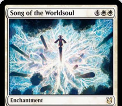 【統率者2019】白レアのエンチャント「Song of the Worldsoul」が公開!6マナで設置し、あなたが呪文を唱えるたびに居住を行う!