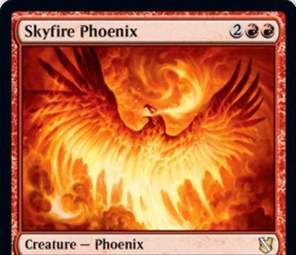 【統率者2019】赤レアのフェニックス「Skyfire Phoenix」が公開!4マナ3/3飛行・速攻&統率者を唱えると墓地から戦場に舞い戻る!
