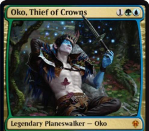【エルドレインの王権】青緑のPW「Oko, Thief of Crowns」が公開!謎のトークン「Food」を生成したり、相手のアーティファクトかクリーチャーを3/3バニラの大鹿に変身させる能力を持つ!相手のパワー3以下クリーチャーと自軍のアーティファクトかクリーチャーを交換する最終奥義も!