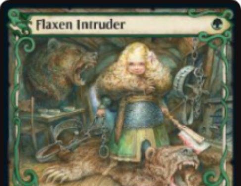 【エルドレインの王権】緑アンコモンの人間狂戦士「Flaxen Intruder」が公開!クリーチャーの能力に加え、「ソーサリー – Adventure」というカードテキストも持つ新メカニズムのカード!
