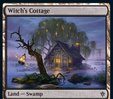 【エルドレインの王権】コモンの特殊沼「Witch's Cottage」が公開!3枚以上の沼がなければタップイン&アンタップインしたなら、自墓地のクリーチャー1枚をライブラリートップに置ける!