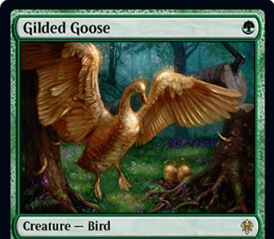 【エルドレインの王権】緑レアの鳥「Gilded Goose」が公開!1マナ0/2飛行&ETBや起動型能力でFoodトークンを生成&タップとFoodトークンをコストに好きな色マナを生産する《極楽鳥》亜種!