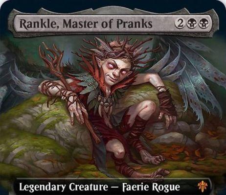 【エルドレインの王権】黒伝説神話のならず者フェアリー「Rankle, Master of Pranks」が公開!4マナ3/3飛行・速攻&プレイヤーにダメージを通すと、各プレイヤーに影響を及ぼす3種の効果を好きなだけ選んで誘発させる!