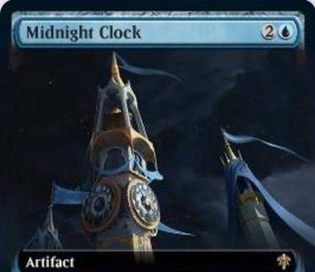 【エルドレインの王権】青レアのアーティファクト「Midnight Clock」が公開!タップで青マナ生産&青2を支払うか各アップキープごとに時刻カウンターを1個獲得&時刻カウンターが12個貯まると手札と墓地をリセットしてから7枚ドロー!