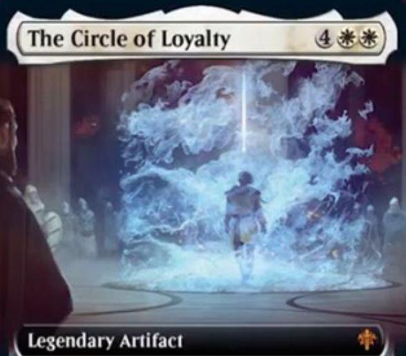 【エルドレインの王権】白伝説神話のアーティファクト「The Circle of Loyalty」が公開!自軍の騎士の数だけ不特定マナコストが軽減&自軍生物を+1/+1&白3を支払ってタップするか、伝説呪文を唱えるたびに白の警戒持ち2/2騎士トークンを生成!