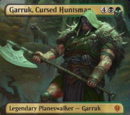 【エルドレインの王権】黒緑の新ガラク「Garruk, Cursed Huntsman」が公開!6マナ初期忠誠5で、【0】【-3】【-6】の3種能力を持つプレインズウォーカー!