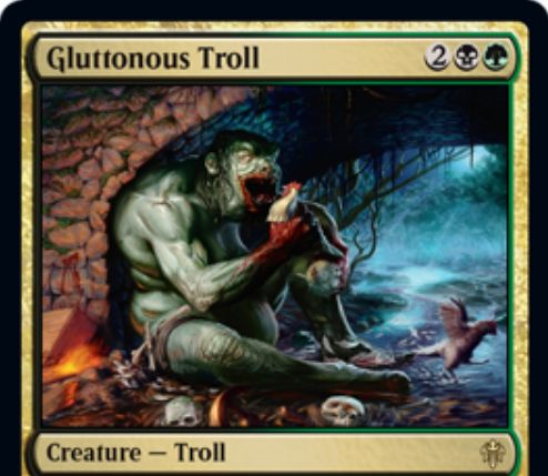 【エルドレインの王権】黒緑レアのトロール「Gluttonous Troll」が公開!3/3トランプル&ETBで対戦相手の数に等しい食物トークン生成&緑1と他の非土地パーマネントをコストに+2/+2修正を得る!