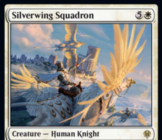 【エルドレインの王権】白レアの人間騎士「Silverwing Squadron」が公開!6マナで自軍生物の数に等しいP/Tと飛行・警戒を持ち、攻撃時に対戦相手の数に等しい2/2警戒の騎士トークンを生成!