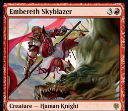 【エルドレインの王権】赤レアの人間騎士「Embereth Skyblazer」が公開!4マナ4/3&自ターンなら飛行獲得&攻撃時に赤2を支払うと、自軍生物のパワーを対戦相手の数だけアップ!