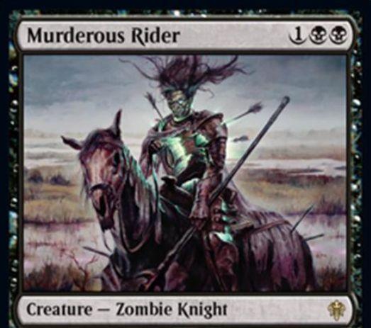 【エルドレインの王権】黒レアのゾンビ騎士「Murderous Rider」が公開!2/3絆魂&死亡時にオーナーのデッキボトムへ!黒黒1で生物かPWを破壊する出来事インスタントとしてのプレイも可能!