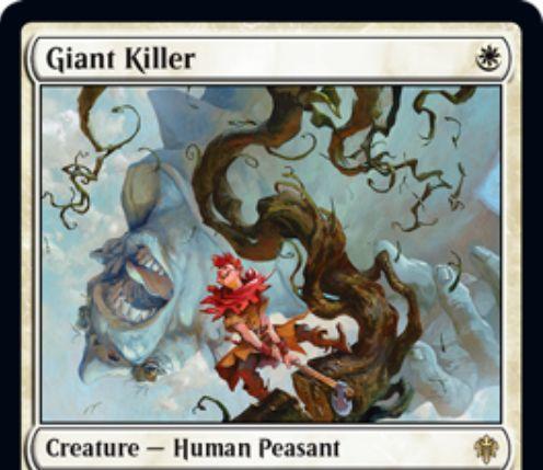 【エルドレインの王権】白レアのPeasant人間「Giant Killer」が公開!1マナ1/2&白1・タップで対象生物をタップ!白2の出来事インスタントでパワー4以上の生物を破壊!