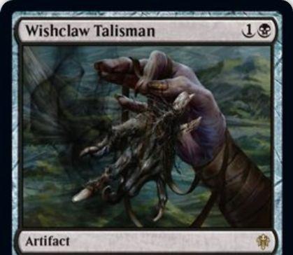 【エルドレインの王権】黒レアのアーティファクト「Wishclaw Talisman」が公開!願いカウンターが3個付きで戦場に出て、1・タップ・願いカウンターをコストに好きなカードをサーチ!その後、コントロールが対戦相手に移る!
