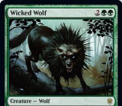 【エルドレインの王権】緑レアの狼「Wicked Wolf」が公開!3/3&ETBで最大1体の生物と格闘&食物トークンをコストに+1/+1カウンターを1個得つつ破壊不能になって自身をタップ!