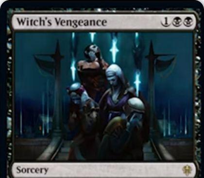 【エルドレインの王権】黒レアのソーサリー「Witch's Vengeance」が公開!あなたが選んだタイプの生物に-3/-3修正を与える!