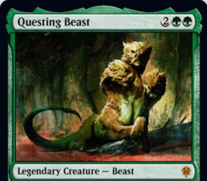 【エルドレインの王権】緑の伝説神話ビースト「Questing Beast」が公開!4/4警戒・接死・速攻&パワー2以下にブロックされない&自軍生物が与えるダメージは軽減されない&このカードが対戦相手にダメージを通すと、同じ点数のダメージを相手の対象PWにも与える!