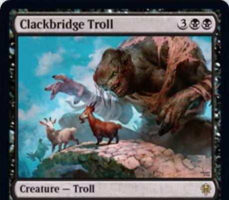 【エルドレインの王権】黒レアのトロール「Clackbridge Troll」が公開!8/8トランプル・速攻&ETBで相手の戦場に0/1の黒ヤギを3体生成&自ターンの戦闘開始時、相手は生物を生贄に捧げてこれをタップ可能!その場合はあなたは3点ライフと1枚のドローを得る!