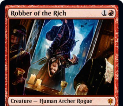 【エルドレインの王権】赤神話「Robber of Rich」が公開!2/2到達・速攻&攻撃時に防御側プレイヤーがあなたよりも手札が多かったら、そのプレイヤーのデッキトップを追放し、ならず者で攻撃したターン中ならマナ色不問で唱えられるようにする人間・射手・ならず者!