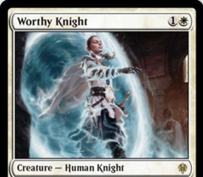 【エルドレインの王権】白レアの人間騎士「Worthy Knight」が公開!2/2&あなたが騎士呪文を唱えるたびに1/1白騎士トークンを生成!