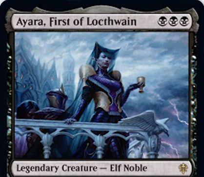 【エルドレインの王権】黒レアの伝説エルフ貴族「Ayara, First of Locthwain」が公開!これか他の黒生物が戦場に出るたび対戦相手に1点ドレイン!タップと他の黒生物の生贄をコストに1ドロー!