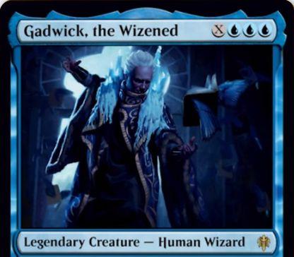 【エルドレインの王権】青伝説の人間ウィザード「Gadwick, the Wizened」が公開!3/3&ETBでX枚ドロー&青呪文を唱えるたびに対戦相手の非土地パーマネント1個をタップ!