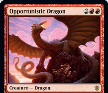 【エルドレインの王権】赤レアのドラゴン「Opportunistic Dragon」が公開!4/3飛行&ETBで対戦相手の人間かアーティファクト1つのコントロールを得て、それの能力を消失させつつ攻撃ブロック不可にする!