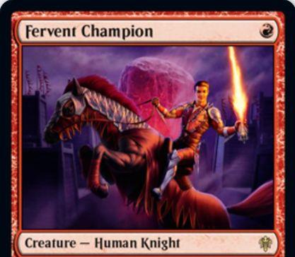 【エルドレインの王権】赤レアの人間騎士「Fervent Champion」が公開!1/1先制攻撃・速攻&攻撃するたびに他の攻撃している騎士をパワー+1&これに対する装備品の装備コストを3減らす!