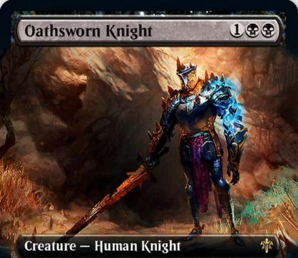 【エルドレインの王権】黒レアの人間騎士「Oathsworn Knight」が公開!4個の+1/+1カウンターが乗った状態で戦場に出て、各戦闘で可能なら攻撃!+1/+1カウンターがある状態でダメージを受けたなら、それを全て軽減して+1/+1カウンターを1個取り除く!