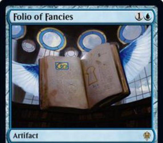 【エルドレインの王権】青レアのアーティファクト「Folio of Fancies」が公開!プレイヤーの手札上限をなくす&XXとタップで各プレイヤーはX枚ドロー&青2とタップで各対戦相手は自身の手札の枚数だけライブラリートップからカードを墓地へ!
