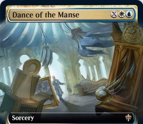 【エルドレインの王権】白青レアのソーサリー「Dance of the Manse」が公開!自墓地にあるXマナ以下のアーティファクトかエンチャント(オーラ以外)をX個まで戦場に出す!Xが6以上なら、それらのパーマネントは4/4のクリーチャーにもなる!