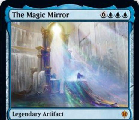 【エルドレインの王権】青神話の伝説アーティファクト「The Magic Mirror」が公開!あなたの手札上限をなくし、毎ターンごとに増加する追加ドローを提供!あなたの墓地にあるインスタントとソーサリーの数だけコストが軽減される能力も!