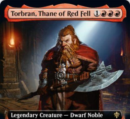【エルドレインの王権】赤レアの伝説ドワーフ貴族「Torbran, Thane of Red Fell」が公開!あなたの赤の発生源のダメージを2増加させる!