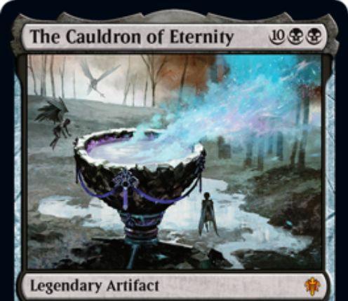 【エルドレインの王権】黒神話の伝説アーティファクト「The Cauldron of Eternity」が公開!黒2・タップ・2点ライフで自墓地の生物をソーサリー・タイミングで戦場に出す!あなたのクリーチャー死亡時にそれをデッキボトムに送る能力と、自墓地のクリーチャー枚数×2だけコストが軽減される能力も!