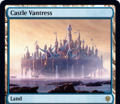 【エルドレインの王権】青マナが出るレア土地「Castle Vantress」が公開!島がなければタップイン&青青2・タップで占術2!