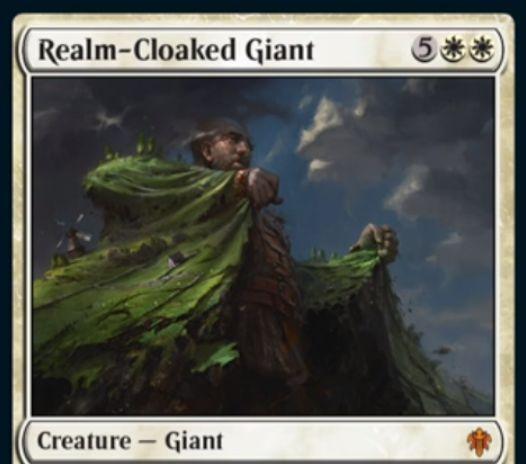 【エルドレインの王権】白神話巨人「Realm-Cloaked Giant」が公開!7/7警戒&出来事ソーサリー「Cast Off」は白白3で巨人以外のクリーチャーを全破壊!
