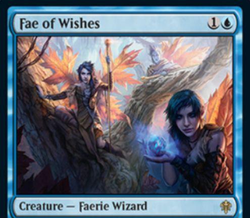 【エルドレインの王権】青レアのフェアリー・ウィザード「Fae of Wishes」が公開!1/4飛行&青1と手札2枚をコストに手札に戻る!出来事ソーサリー「Granted」では、青3でゲーム外の非クリーチャー・カード手札に加える!