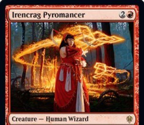 【エルドレインの王権】赤レアの人間ウィザード「Irencrag Pyromancer」が公開!P/Tが0/4で、あなたが各ターン2枚目のカードを引くたびに好きな対象に3点ダメージを飛ばす!